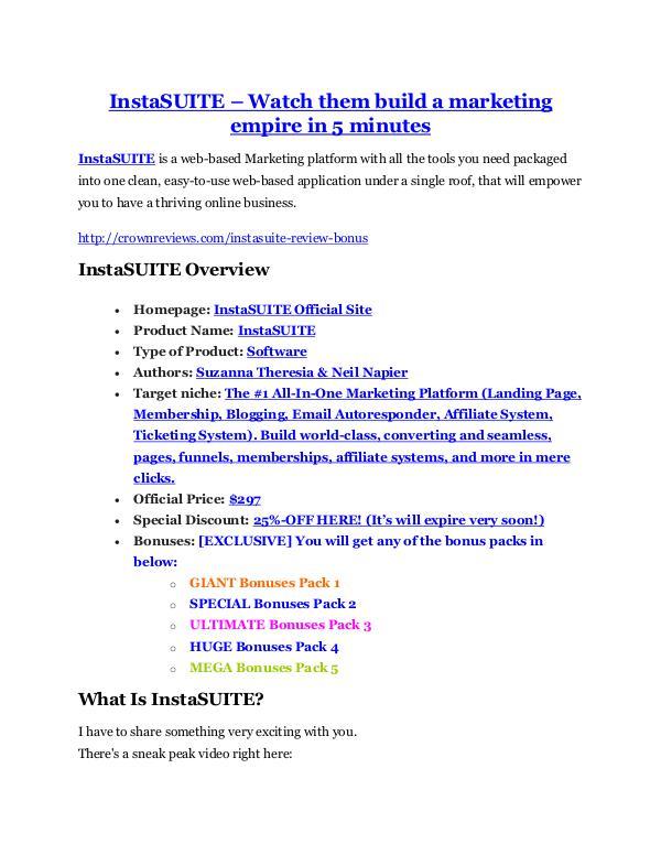 marketing InstaSUITE review demo & BIG bonuses pack