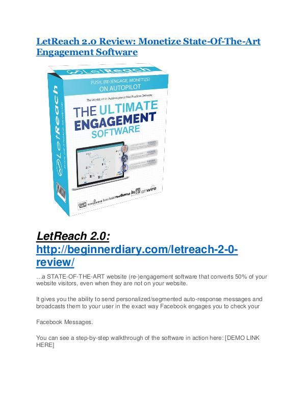 LetReach 2.0 REVIEW & LetReach 2.0 (SECRET) Bonuses LetReach 2.0 review and $26,900 bonus - AWESOME!