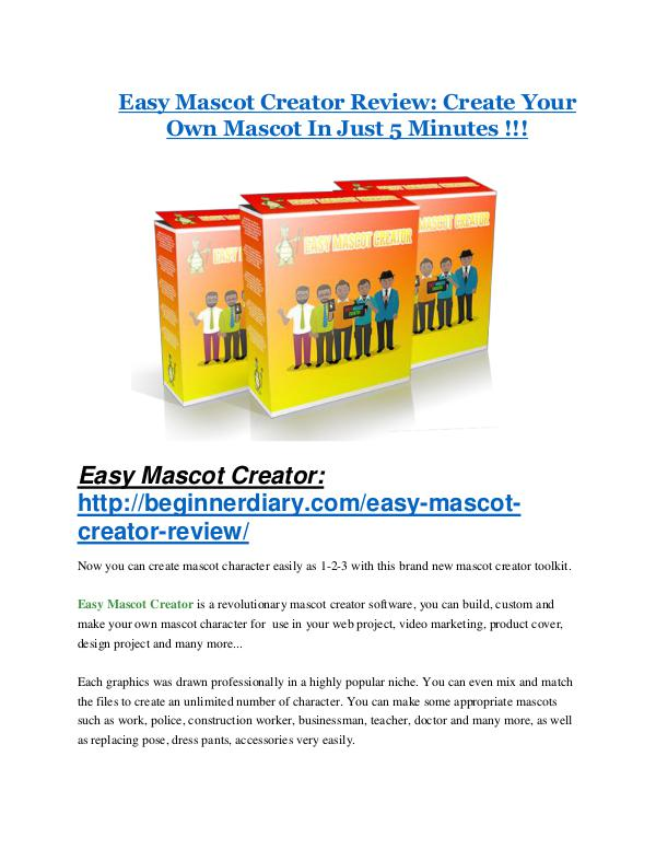 Easy Mascot Creator Review – (Truth) of Easy Mascot Creator and Bonus Easy Mascot Creator Review-TRUST about Easy Mascot Creator and 80% discount