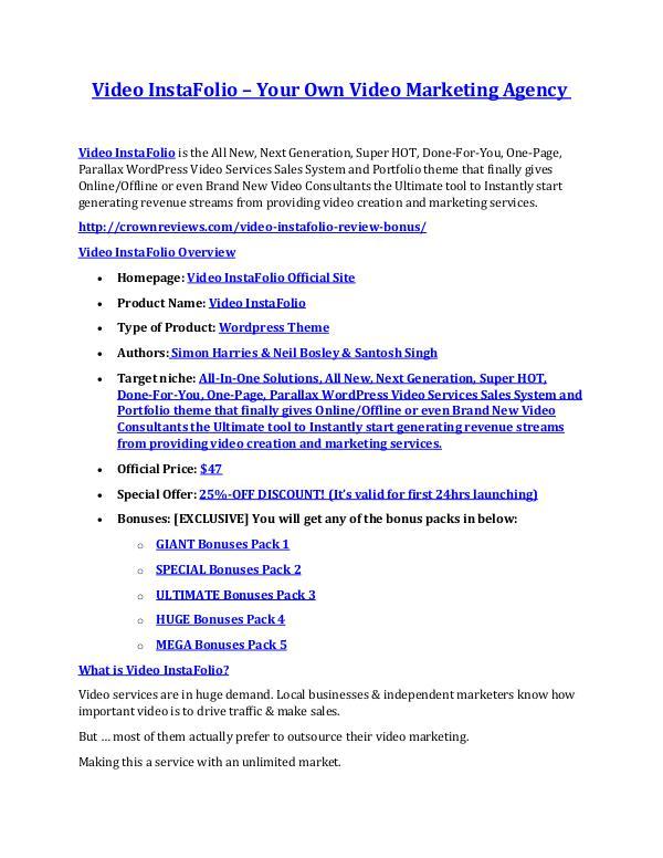 marketing online Video InstaFolio review and MEGA $38,000 Bonus - 80% Discount