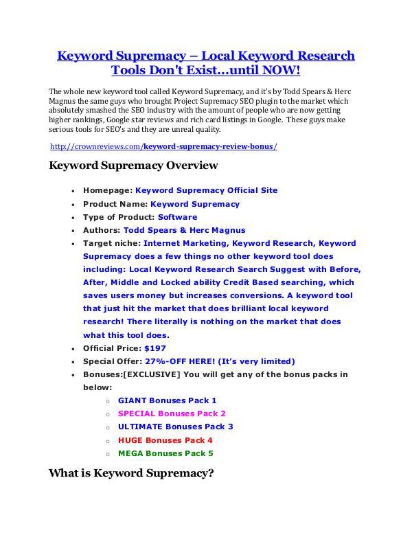 marketing online Keyword Supremacy review - Keyword Supremacy sneak peek features