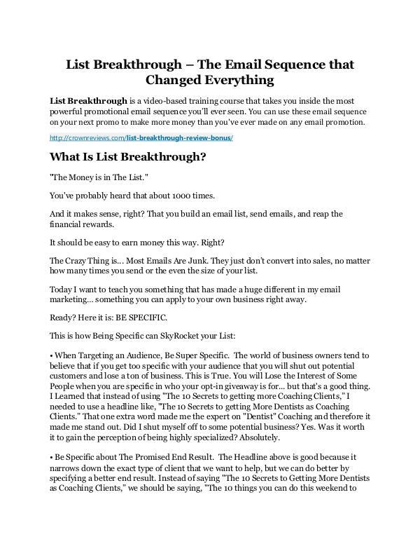 List Breakthrough review demo & BIG bonuses pack List Breakthrough Review