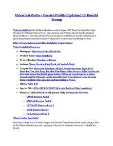 Video InstaFolio review & Video InstaFolio $22,600 bonus-discount Video InstaFolio review - EXCLUSIVE bonus of Video InstaFolio