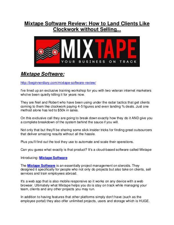 Mixtape Software REVIEW - DEMO of Mixtape Software Mixtape Software Review & (Secret) $22,300 bonus