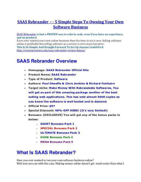 SAAS Rebrander review & bonuses - cool weapon SAAS Rebrander REVIEW and GIANT $21600 bonuses