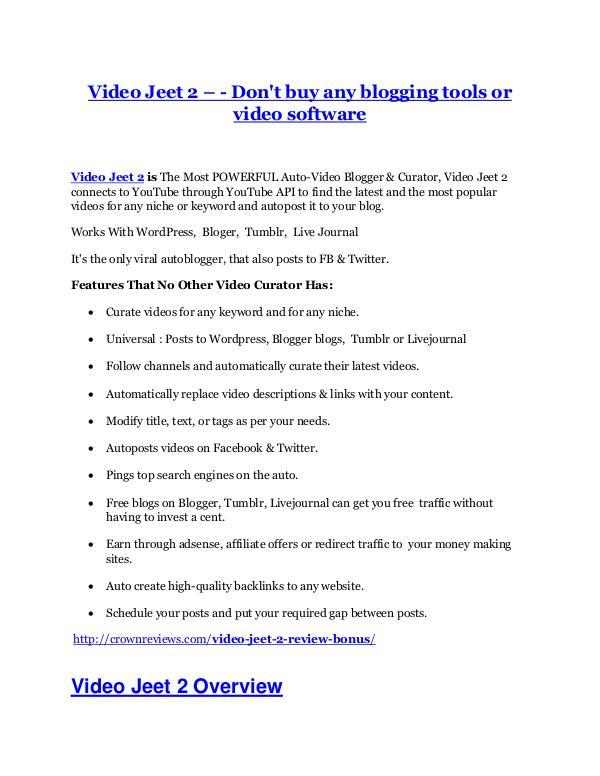 Video Jeet 2 Review demo - $22,700 bonus Video Jeet 2 Review - (FREE) Bonus of Video Jeet 2
