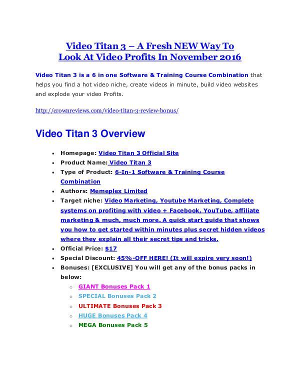 Video Titan 3 review & bonus - I was Shocked! Video Titan 3 review and (Free) $21,400 Bonus & Discount