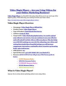 Video Magic Player review - Video Magic Player top notch features