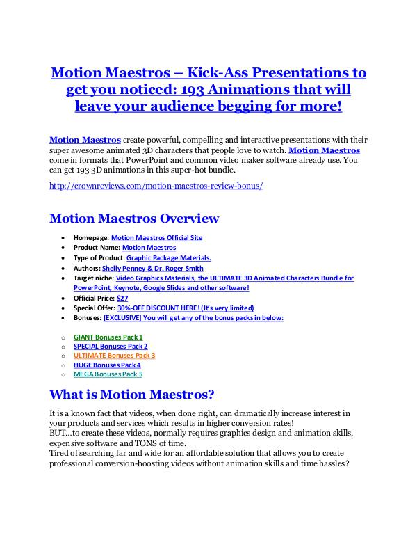 marketing online Motion Maestros Review and Motion Maestros (EXCLUSIVE) bonuses pack