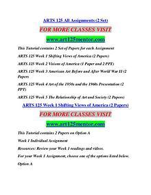 ART 125 MENTOR Learn by Doing/ajs572mart.com