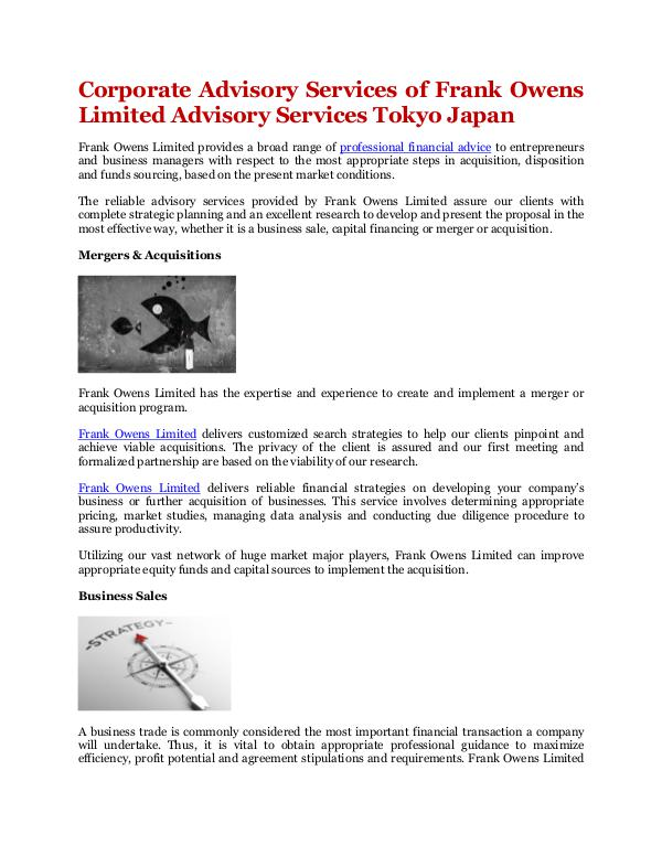 Corporate Advisory Services of Frank Owens Limited Advisory Services Corporate Advisory Services