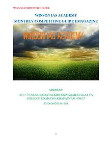WINSON COMPETITIVE GUIDE