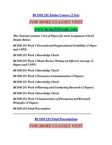 BCOM 231 RANK Learn by Doing/bcom231rank.com