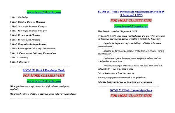 BCOM 231 RANK Learn by Doing/bcom231rank com BCOM 231 RANK