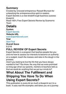 Expert Secrets Russell Brunson PDF Review 1