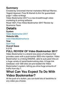 Video Bookmarker 2017 Michael Warner PDF Review 1
