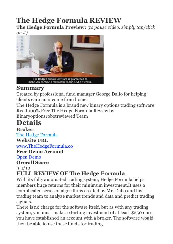 The Hedge Formula George Dalio PDF Review 1 The Hedge Formula Review - Does The Hedge Formula