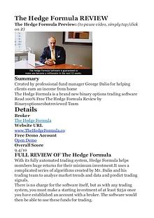 The Hedge Formula George Dalio PDF Review 1