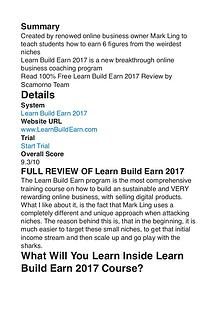 Learn Build Earn 2017 Mark Ling PDF Review 1
