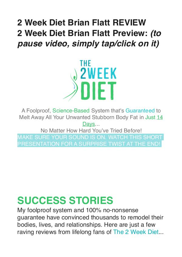 The 2 Week Diet DVD / Review Is Brian Flatt's Video Free Down The 2 Week Diet Brian Flatt
