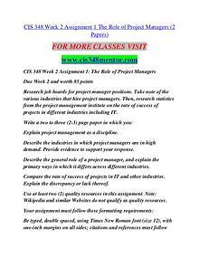 CIS 348 MENTOR Career Path Begins/cis348mentor.com