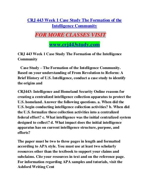 CRJ 443 STUDY Learn by Doing/crj443study com CRJ 443 STUDY