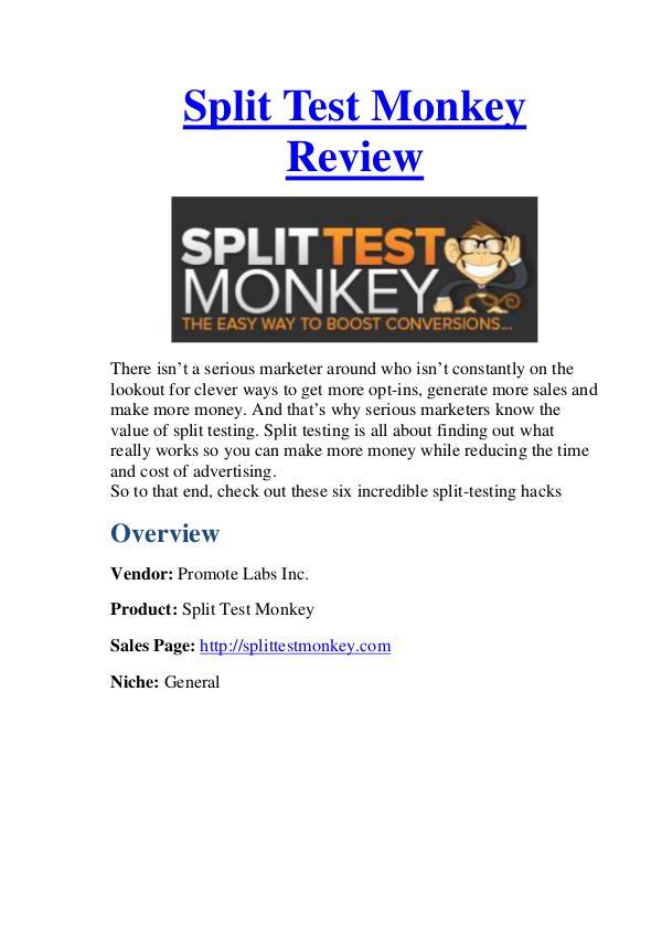 Split Test Monkey Review - Low Cost & Huge Bonus $10000 Bonus