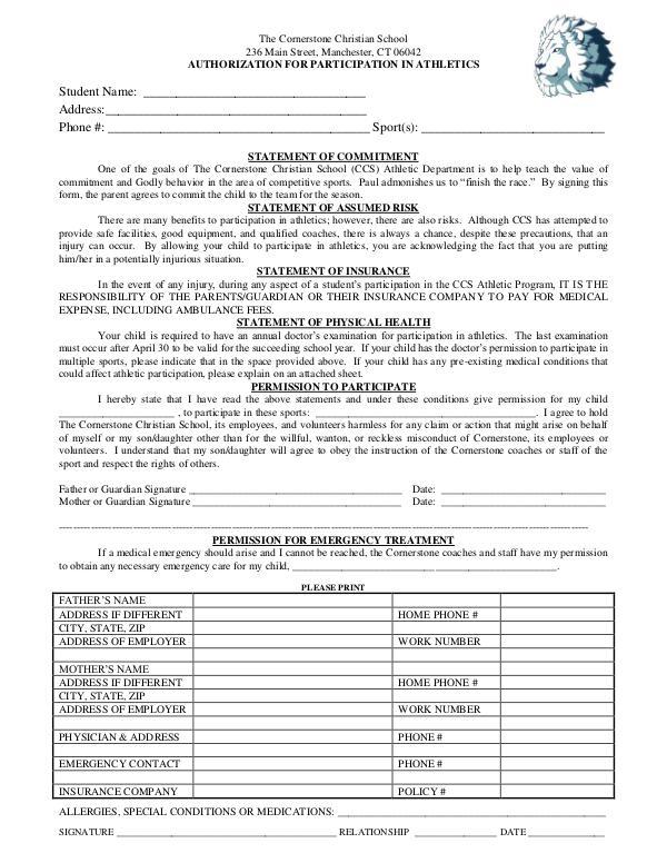 Medical Permission Form