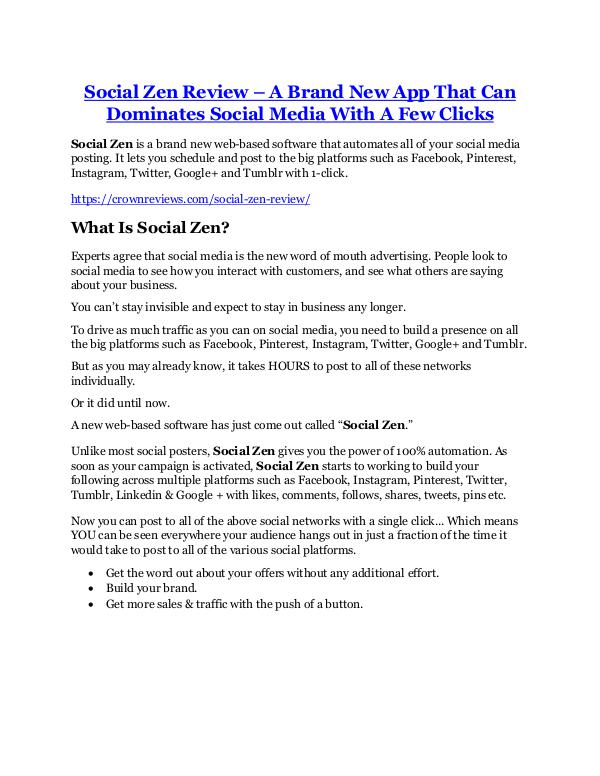 marketing Social Zen TRUTH review and EXCLUSIVE $25000 BONUS