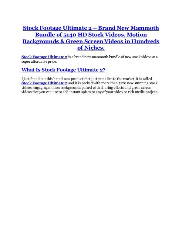 Stock Footage Ultimate 2.0 review & (GIANT) $24,700 bonus Stock Footage Ultimate 2.0 review and Exclusive $2