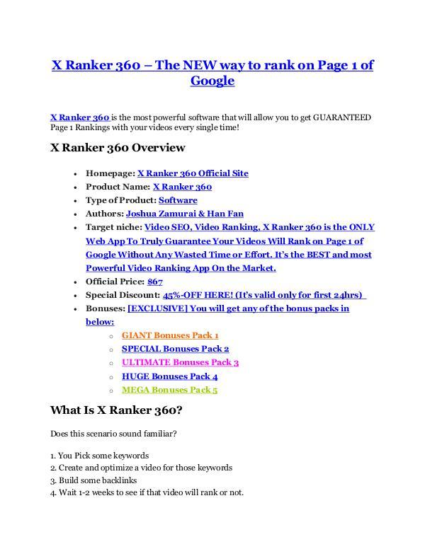 X Ranker 360 review demo and $14800 bonuses X Ranker 360 Detail Review and X Ranker 360 $22,700 Bonus