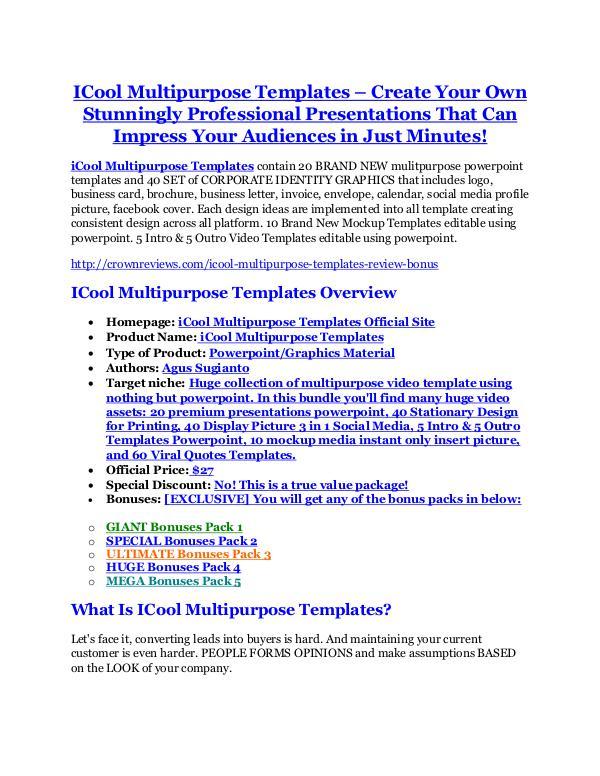 Marketing ICool Multipurpose Templates Review-$32,400 bonus & discount
