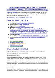 Marketing Turbo Bot Builder review - Turbo Bot Builder +100 bonus items