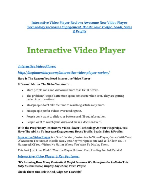 markeitng Interactive Video Player review - I was shocked!