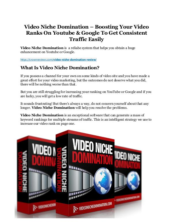 Video Niche Domination Review & (BIGGEST) jaw-drop bonuses Video Niche Domination Detail Review and Video Nic