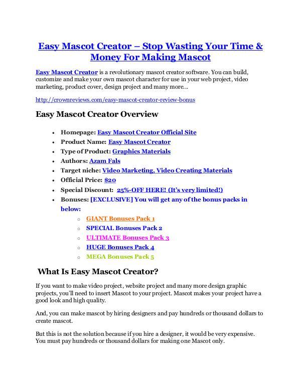 marketing Easy Mascot Creator review pro-$15900 bonuses (free)