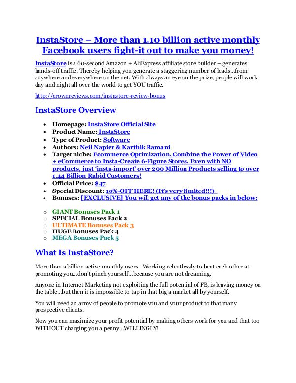 marketing InstaStore review in detail and (FREE) $21400 bonus