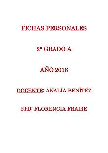 Fichas personales 2°A 2018