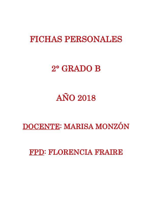Fichas personales 2° grado B 2018 Fichas personales 2 B final