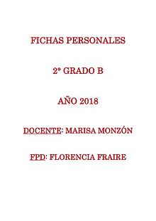 Fichas personales 2° grado B 2018