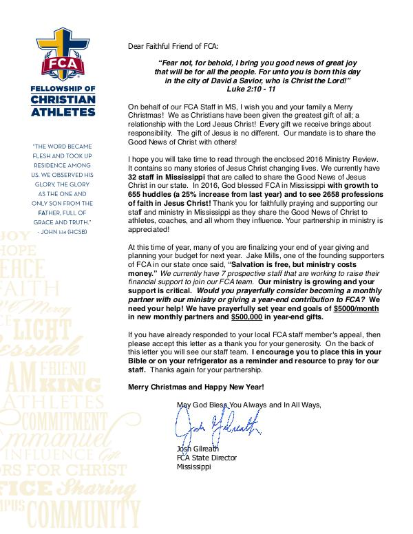 2016 Mississippi FCA Ministry Update Thank You Letter