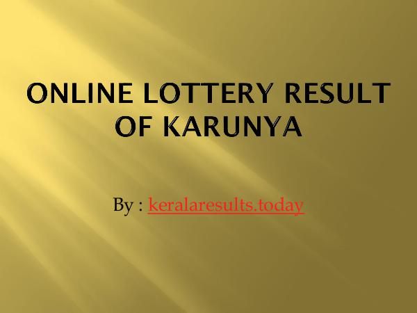 Results Online Lottery Result of karunya