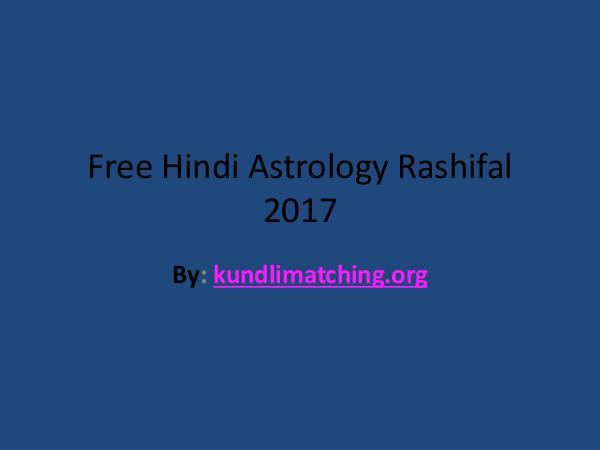 Free Hindi Astrology Rashifal 2017