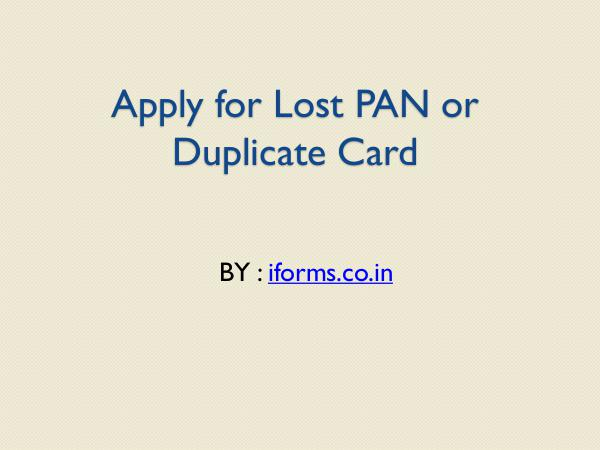 General Apply for PAN card form