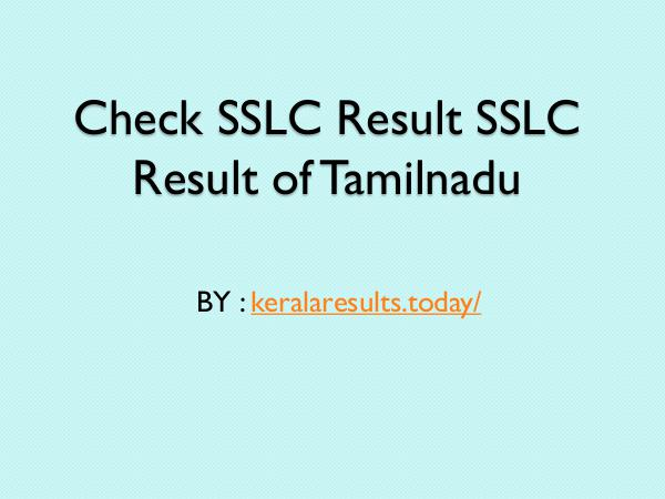 General Tamilnadu sslc results online