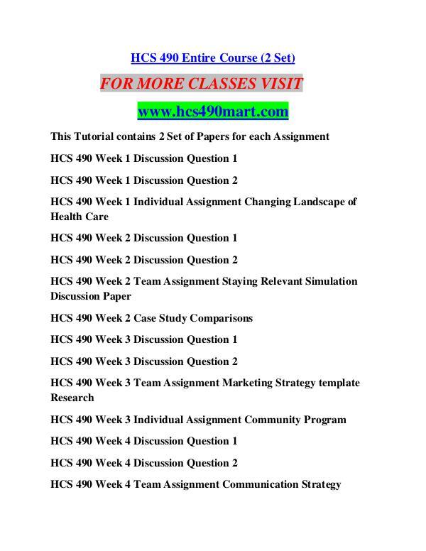 HCS 490 MART Education Terms/hcs490mart.com HCS 490 MART Education Terms/hcs490mart.com