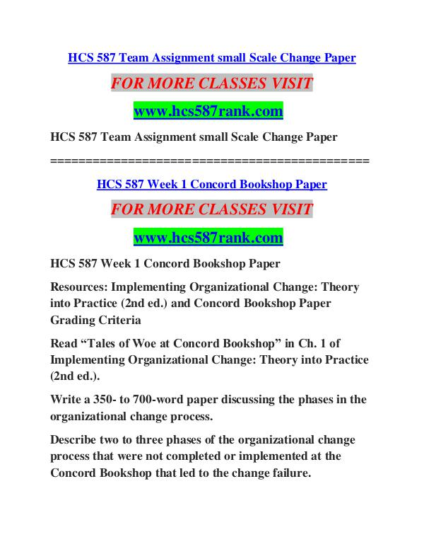 concord bookshop paper hcs 587 Hcs 545 organizational responsibility and current healthcare issues paper   420 syllabus hcs 587 concord bookshop paper psych/545 survey of professional .