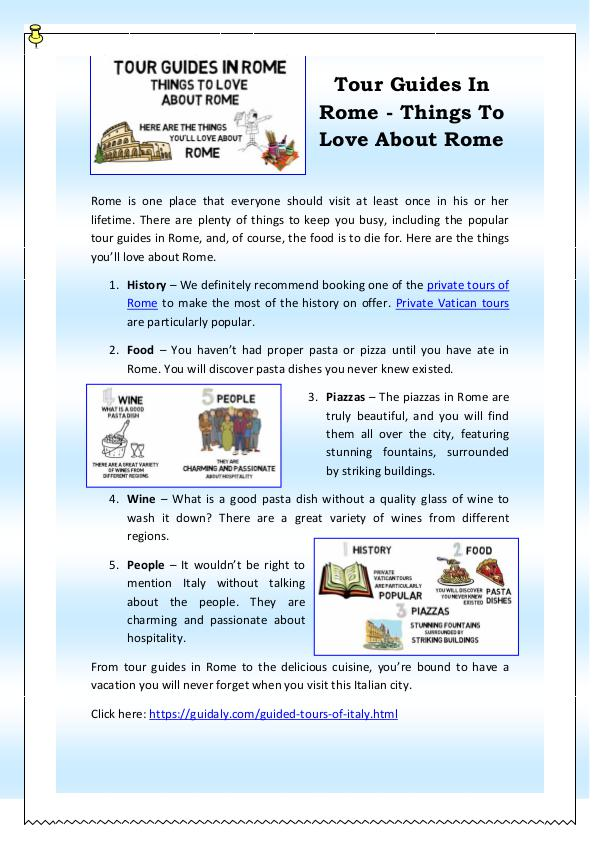 Tour Guides In Rome - Things To Love About Rome Tour Guides In Rome - Things To Love About Rome