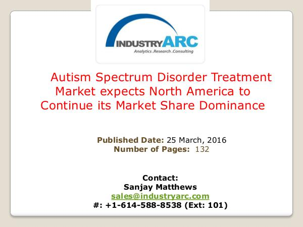 Autism Spectrum Disorder  Treatment Market Autism Spectrum Disorder Treatment Market