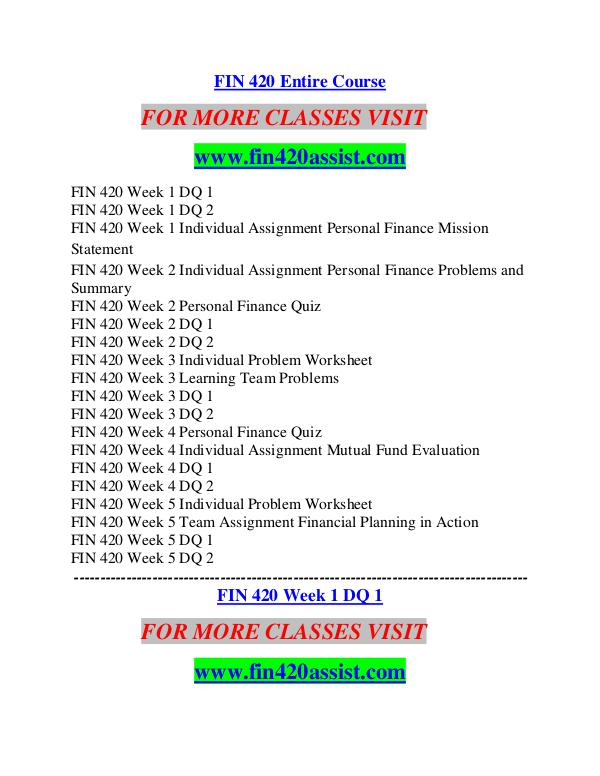 FIN 420 ASSIST Career Path Begins/fin420assist.com FIN 420 ASSIST Career Path Begins/fin420assist.com